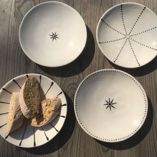 Handmade Ceramic Snack plates in various colours - Germany