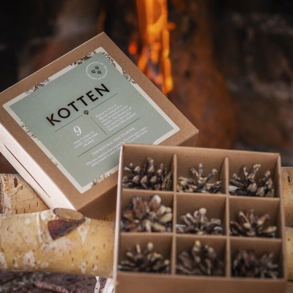 Gift box with 9 pine cone firestarters