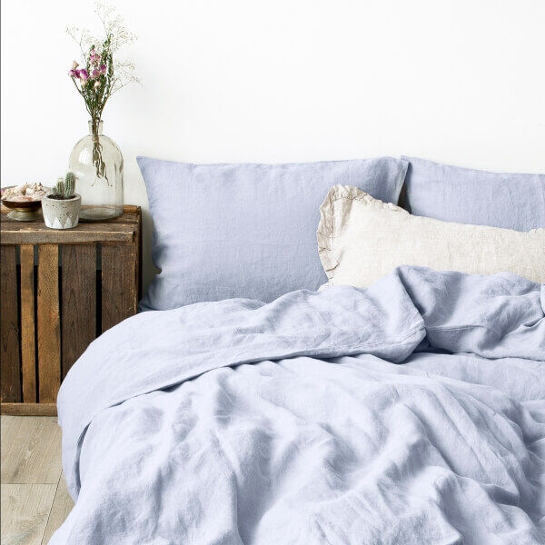 Grey Lilac Washed Linen Bed Set - Lithuania