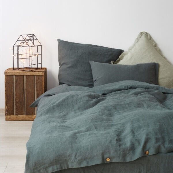 Forest Green Washed Linen Bed Set - Lithuania