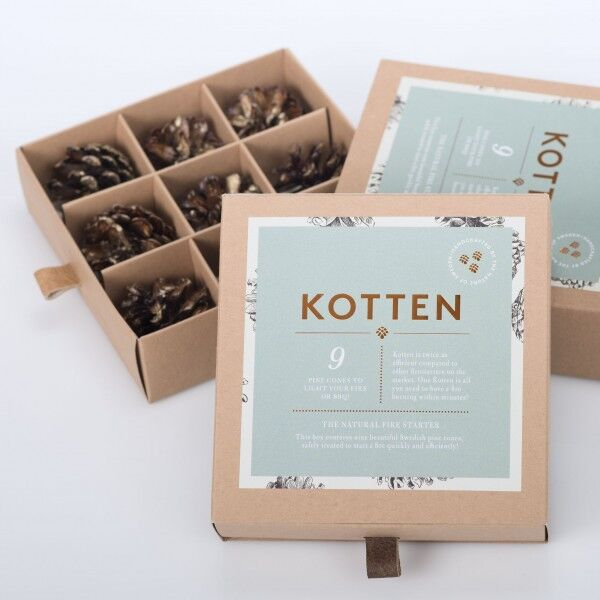 Gift box with 9 pine cone firestarters, KOTTEN, Sweden