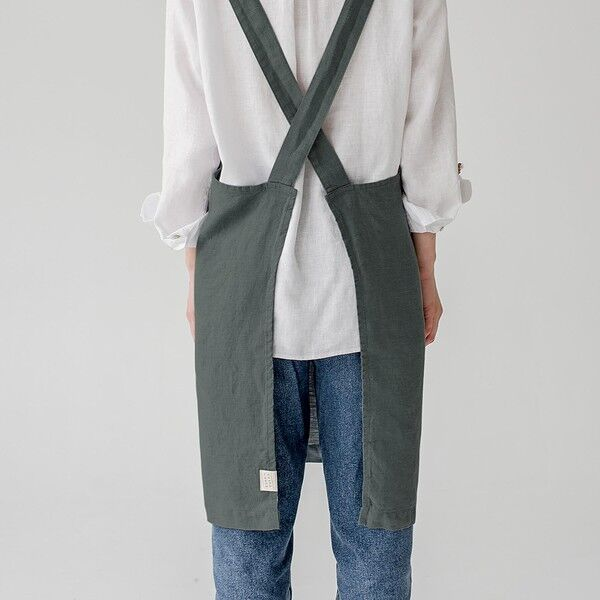 Forest Green Washed Linen Crossback Apron, Linen Tales, Lithuania