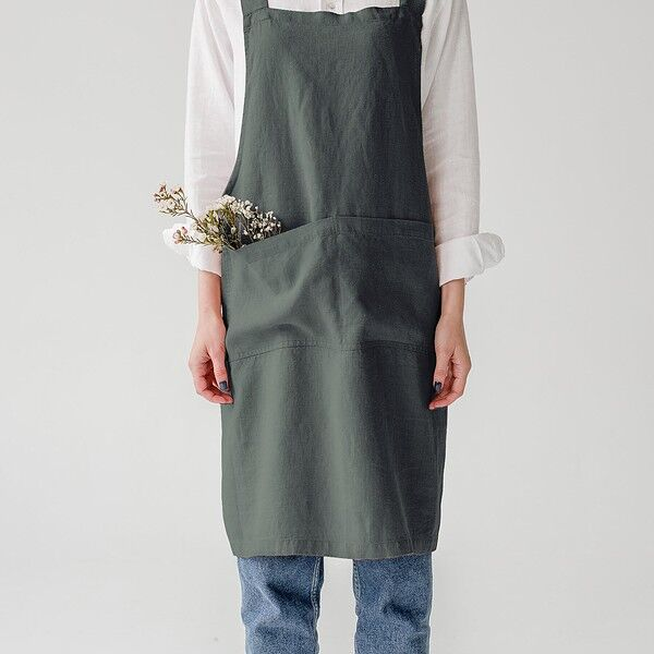 Forest Green Washed Linen Crossback Apron
