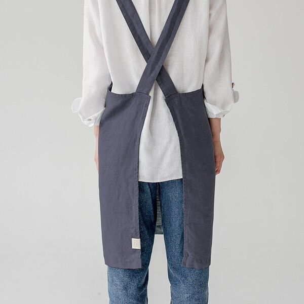 Dark Grey Washed Linen Crossback Apron, Linen Tales, Lithuania