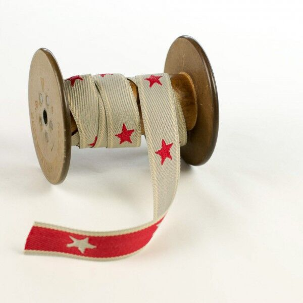 Textile jaquard ribbon red stars