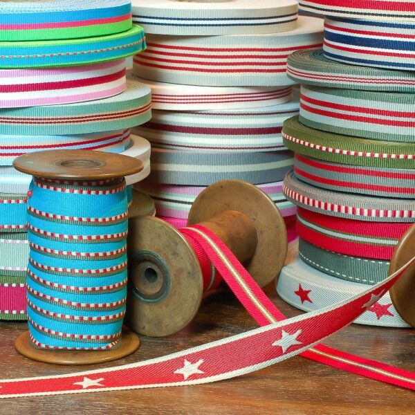 Textile petersham ribbon turquoise, olive, red, creme, Good Ribbons, Germany