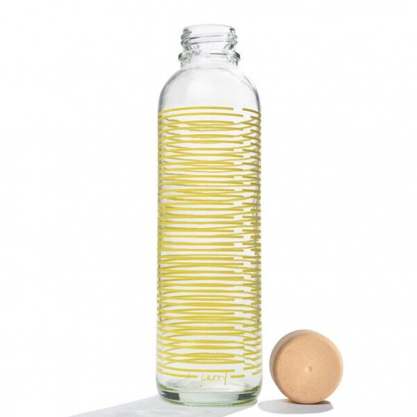 CARRY reusable glass water bottle 700ml - Yellow Twist, CARRY, Germany