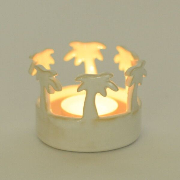 White ceramic tea light holder with palm trees - Germany