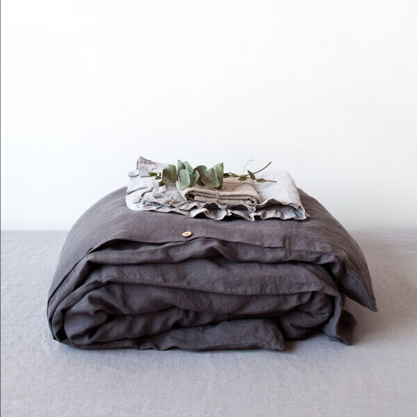 Dark Grey Washed Linen Bed Set, Linen Tales, Lithuania