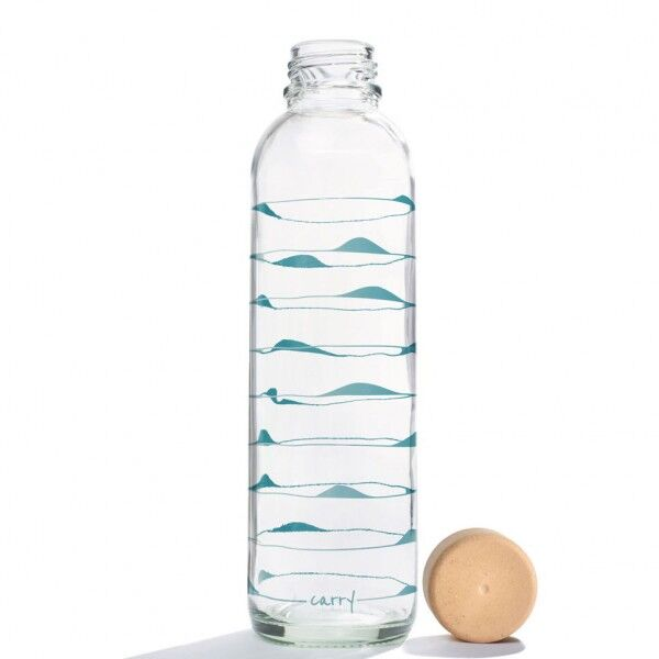 CARRY reusable glass water bottle 700ml - Ocean Waves, CARRY, Germany