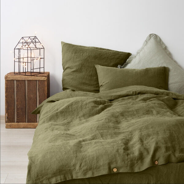 Martini Olive Washed Linen Bed Set - Lithuania